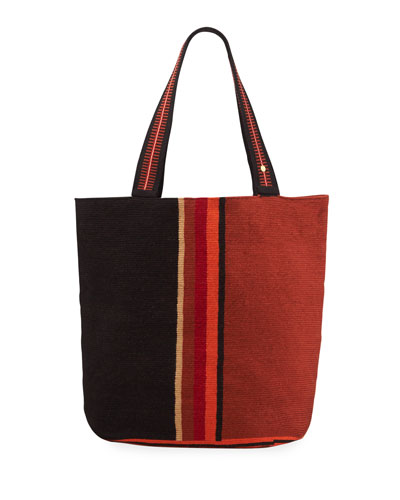 Men's Colorblock Woven Tote Bag