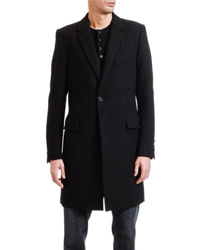 Men's Solid Wool-Blend Topcoat