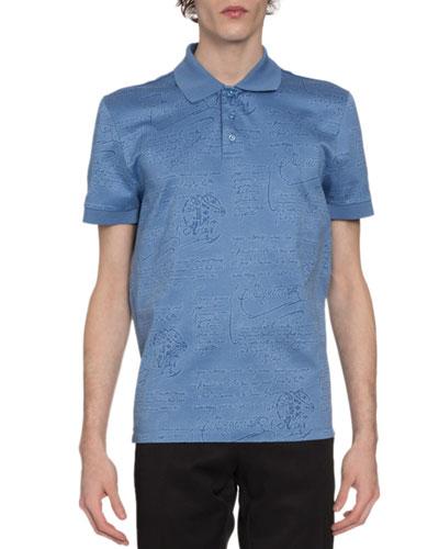 Men's Scritto-Print Polo Shirt