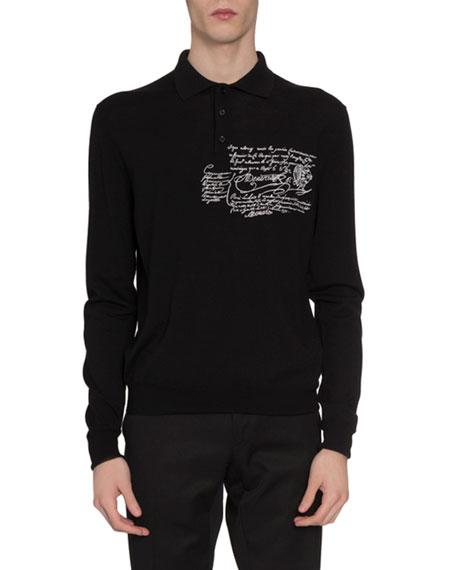 Men's Scritto-Print Long-Sleeve Polo Shirt