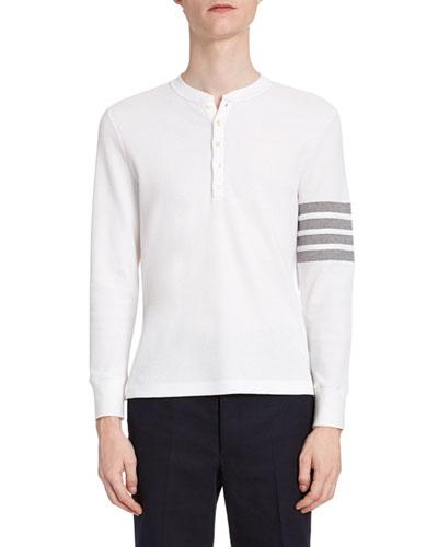 Men's Waffle-Knit Henley Shirt with 4-Bar Stripe