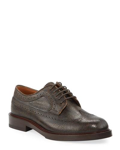 Men's Antiqued Leather Wing-Tip Derby Shoes