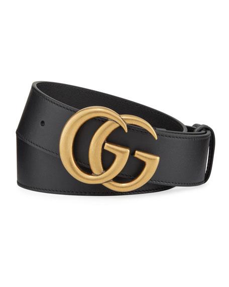 Men's Running GG Logo Leather Belt