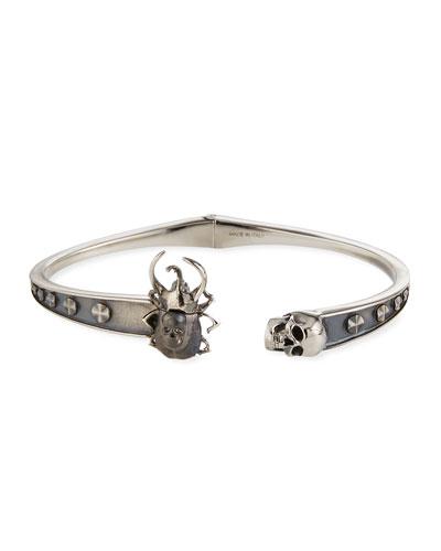Men's Beetle & Skull Cuff Bracelet