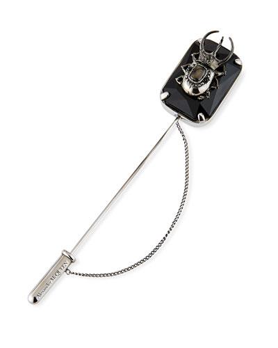 Men's Stone Beetle Lapel Pin