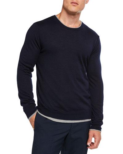 Men's Reversible Cashmere-Silk Crewneck Sweater