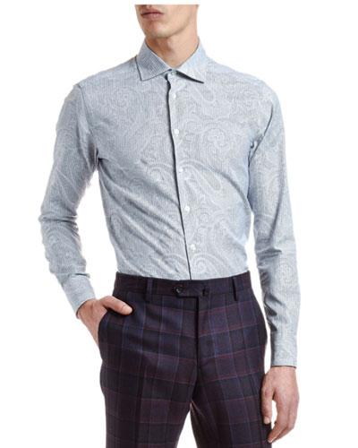 Men's Striped Paisley Long-Sleeve Sport Shirt