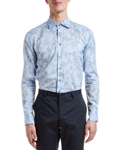 Men's Stencil Floral Sport Shirt
