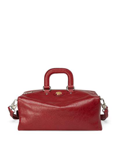 Men's Runway Soft Leather Weekender Bag w/ Backpack Straps