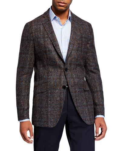 Men's Glen Check Dobby Two-Button Jacket