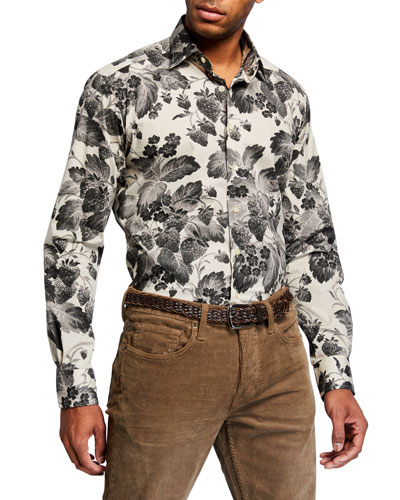 Men's Digital Floral-Print Stretch-Cotton Sport Shirt