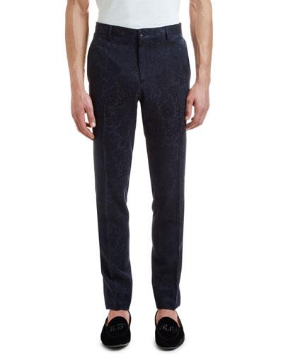 Men's Paisley Jacquard Straight-Leg Trousers