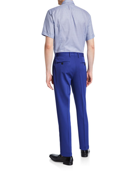 Men's Solid Wool Straight-Leg Trousers