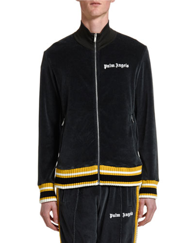 Men's Chenille Track Jacket with Stripes