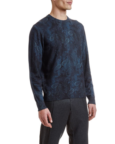 Men's Wool Paisley-Print Crewneck Sweater