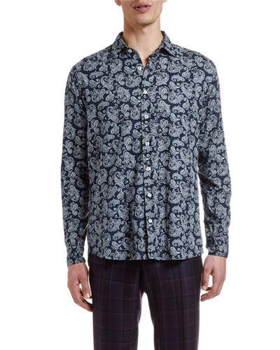 Men's Paisley Cotton Sport Shirt