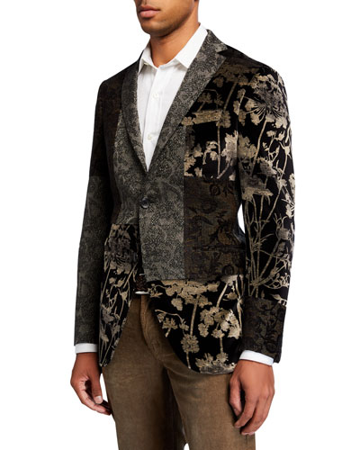 Men's Floral Velvet Patchwork Sport Jacket