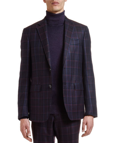 Men's Wool Plaid Suit Separate Jacket