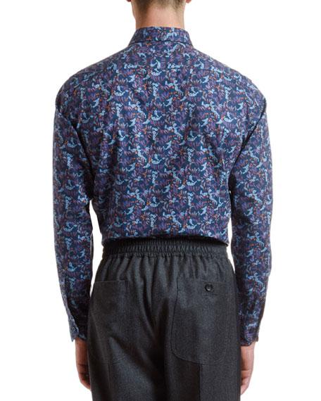 Men's Cotton Floral-Print Sport Shirt