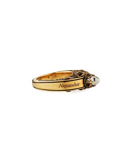 Men's Engraved Skull Ring, Size 9-10