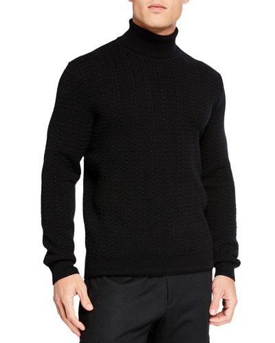 Men's Cabled Cashmere Turtleneck Sweater