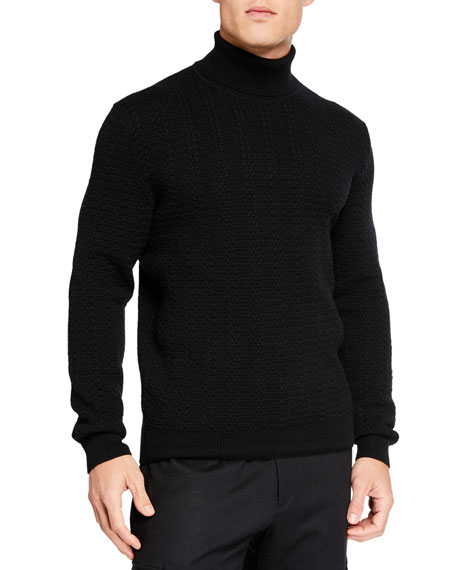 Men's Cabled Cashmere Turtleneck Sweater