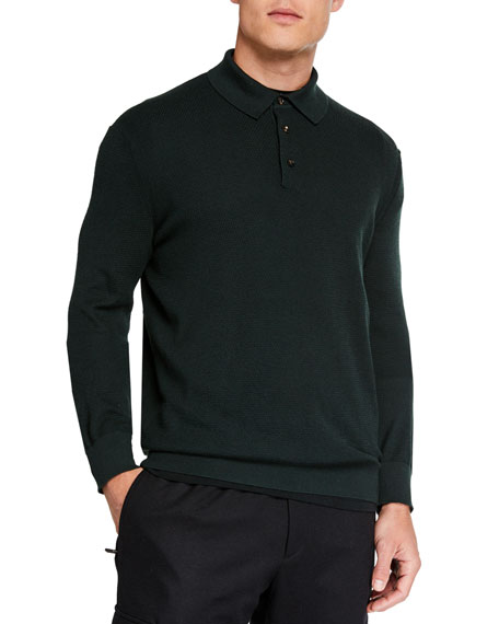 Men's Cashmere-Blend Long-Sleeve Polo Shirt