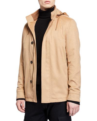 Men's Cashmere Hooded Coat