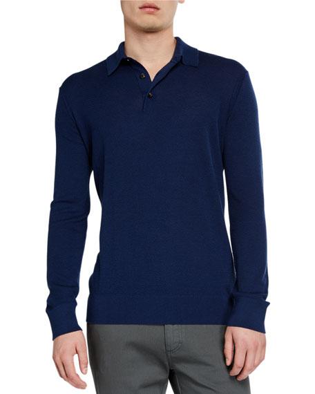 f184456dc7 Men's Cashmere-Blend Long-Sleeve Polo Shirt Dark Blue