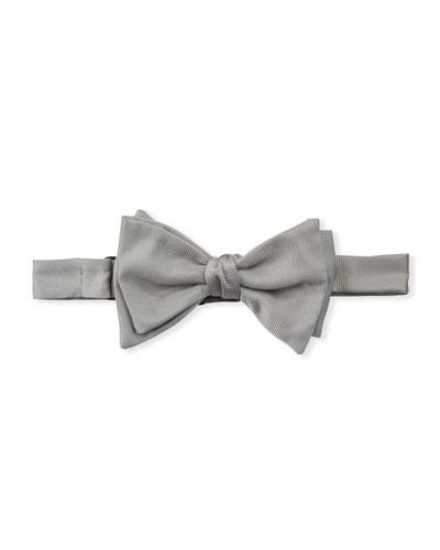 Men's Silk Grosgrain Bow Tie  Silver