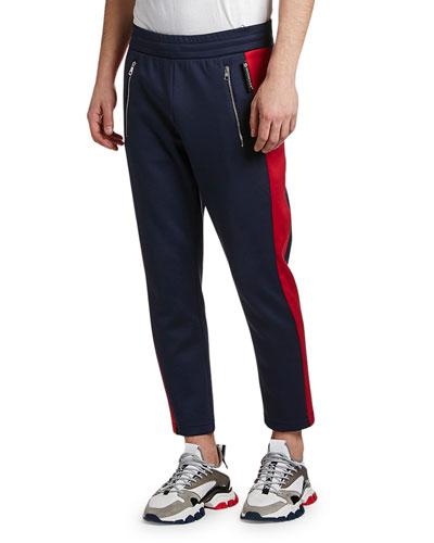 Men's Contrast Side-Stripe Ankle Sweatpants