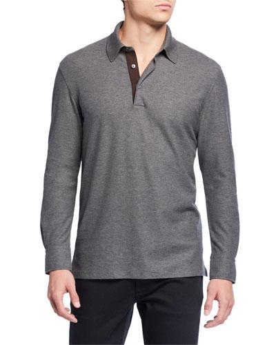 Men's Cotton-Cashmere Polo Shirt w/ Leather Placket
