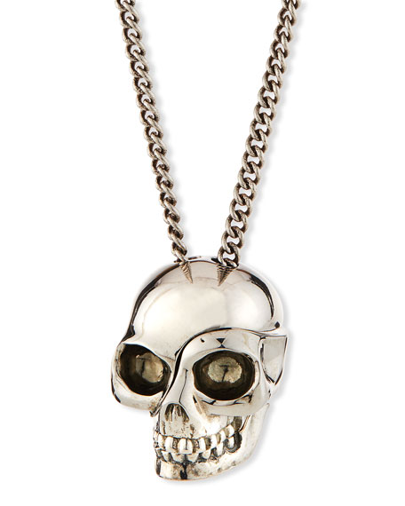 Men's Divided Skull Pendant Necklace