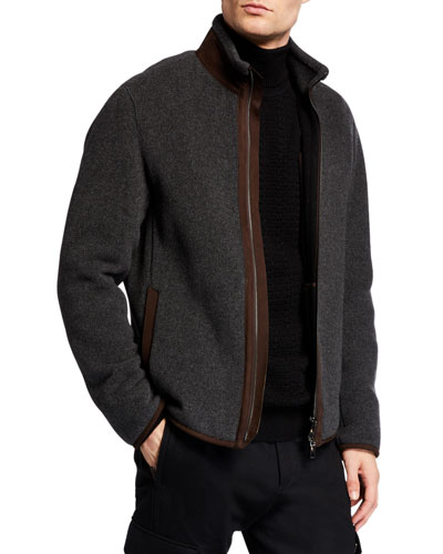Men's Wool-Cashmere Jacket with Leather Lining