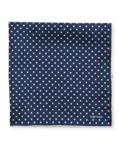 Men's Dotted Silk Pocket Square  Navy/White