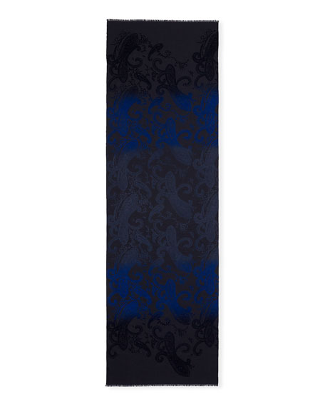 Men's Wool-Silk Paisley Scarf