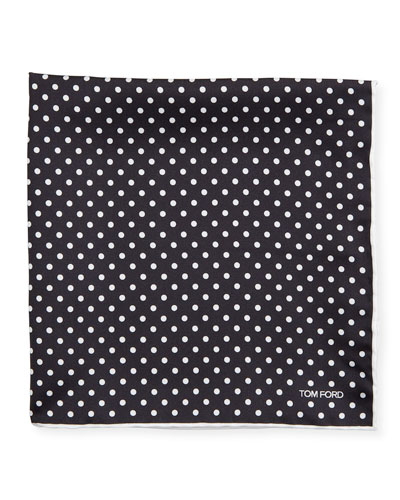 Men's Dotted Silk Pocket Square  Black/White