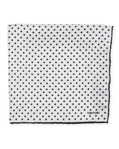 Men's Dotted Silk Pocket Square  White/Black