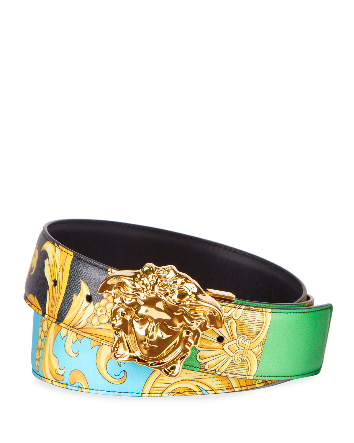Versace Belt Men's Barocco-Print Leather Belt with Medusa Buckle