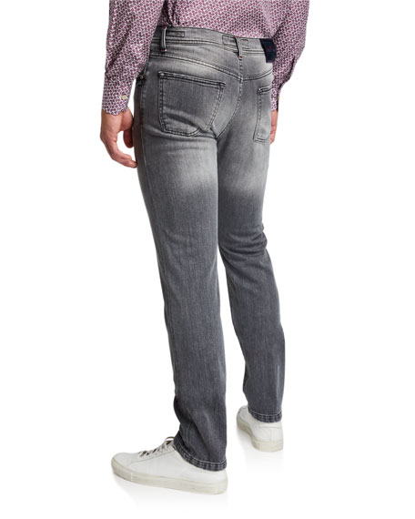 Men's Gray-Washed Distressed Jeans