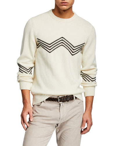 Men's Leather-Stitch Crewneck Sweater