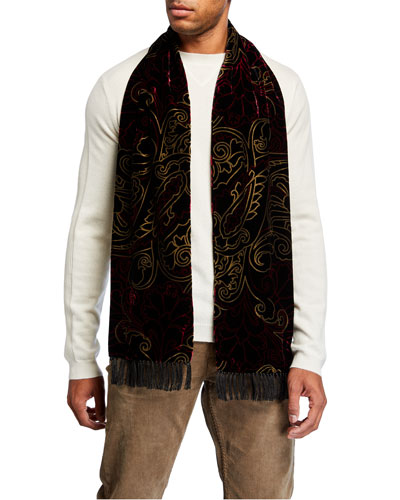 Men's Ornate Viscose-Silk Scarf
