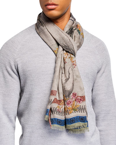 Men's Cashmere-Blend Graphic Scarf