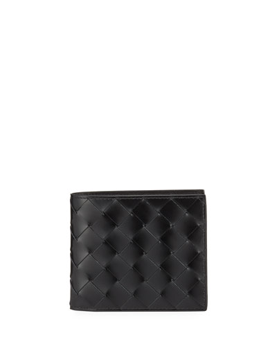 Men's Woven Leather Bi-Fold Wallet