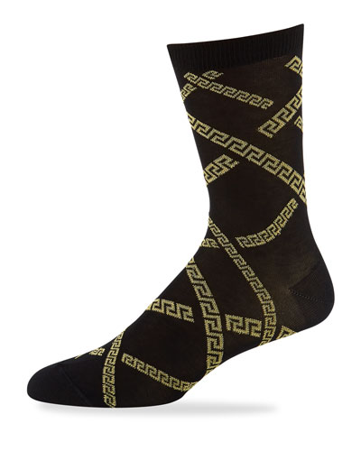Men's Greek Key Short Socks