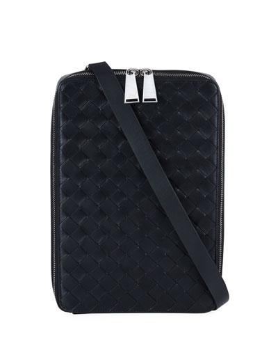 Men's Intrecciato Leather Crossbody Wallet