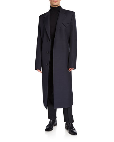 Men's Compact Wool-Blend Covered-Placket Coat