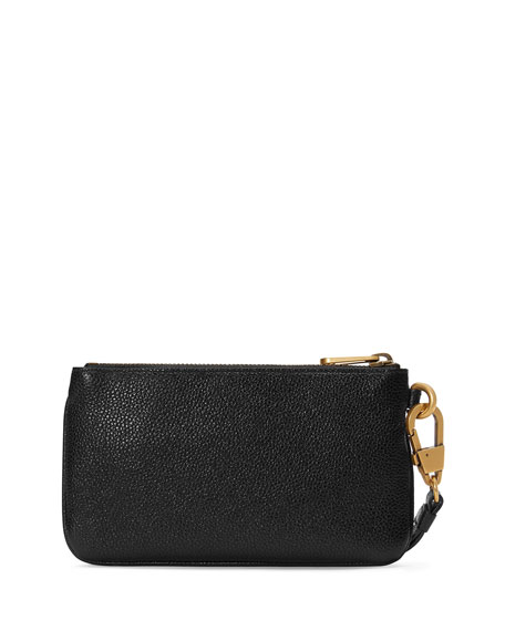 Men's Leather Logo Wristlet Pouch Bag