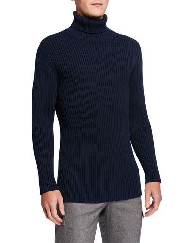 Men's Heavy Rib-Knit Turtleneck Sweater