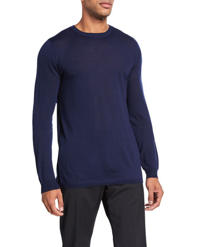 Men's Solid Merino Wool Crewneck Sweater